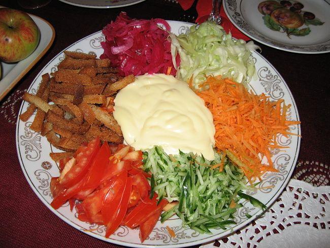 Салат огород рецепт с с сухариками