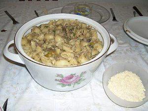 Грибной суп с кабачками и языком