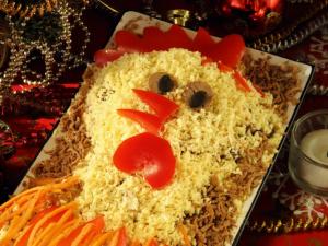 Салат «Петушок» с корейской морковкой