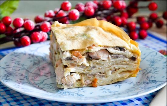 Курник из блинов с курицей и грибами — король пирогов