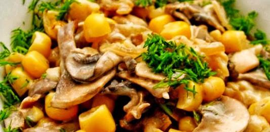 Кукуруза, тушёная с грибами