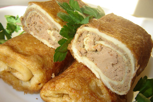 Блины с печенью куриной и с мясом