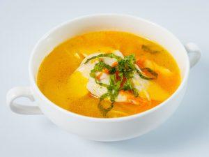 Тыквенный суп с морепродуктами