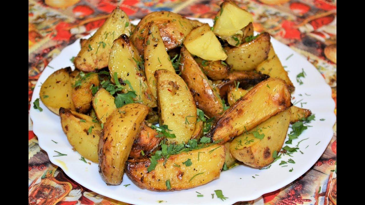 Картошка по деревенски с сыром и чесноком
