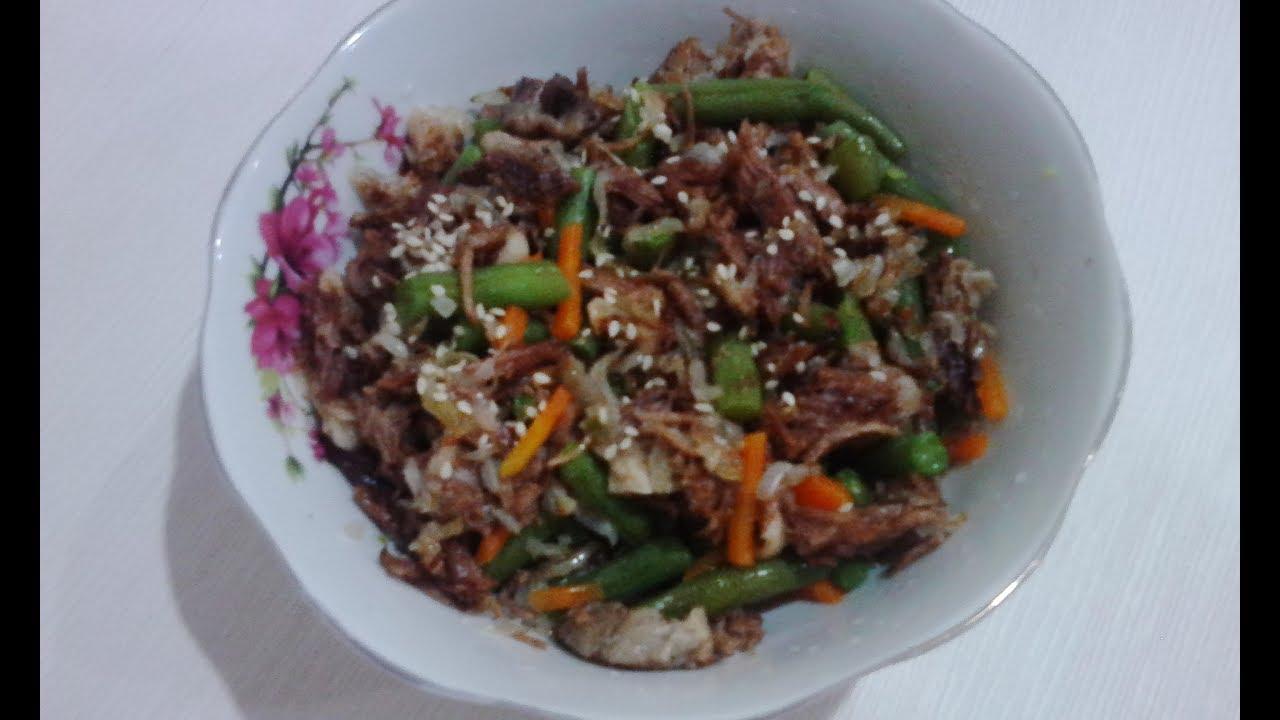 Салат из говяжьего языка со спаржевой фасолью