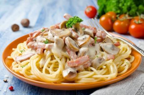 Спагетти с грибами и беконом