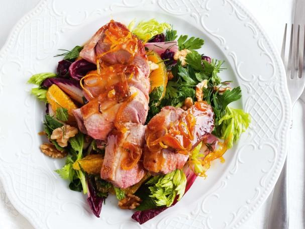 Рецепт теплого салата с уткой