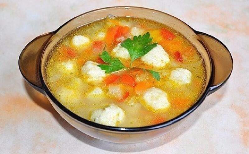 Суп из овощей с сырными шариками