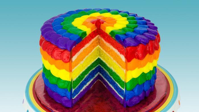Необычайно красивый и вкусный торт «Радужный»