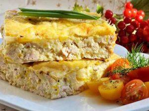 Куриный пирог с запечёнными овоща
