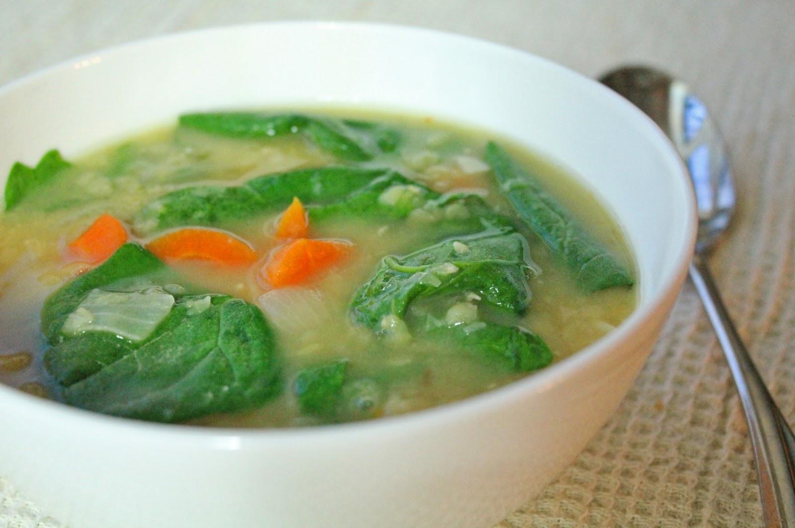 Суп с замороженным шпинатом