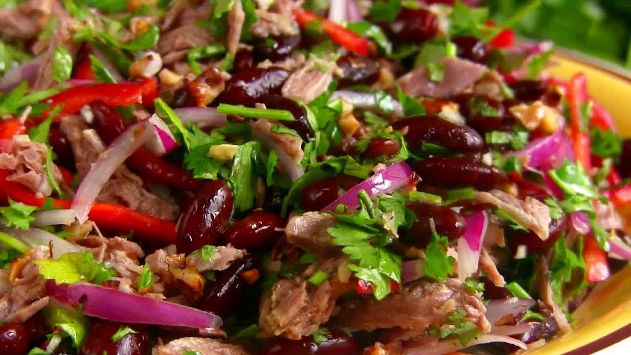Салат «Тбилиси» с красной фасолью и говядиной