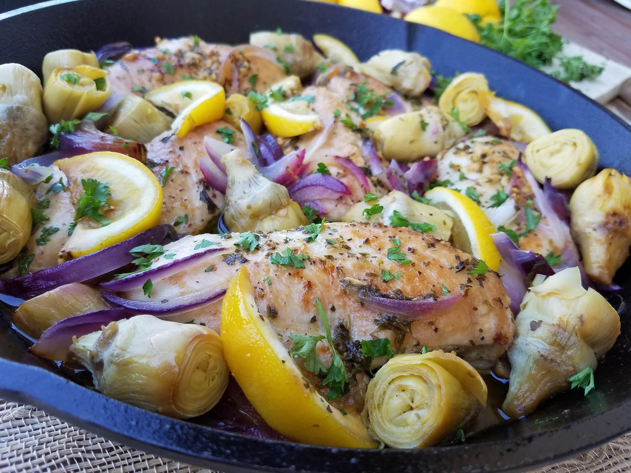 Курица с цитрусами по-гречески