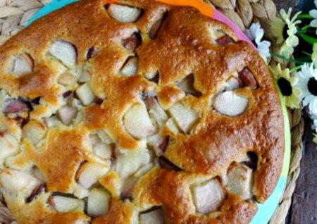 Вкусный пирог с персиками на кефире
