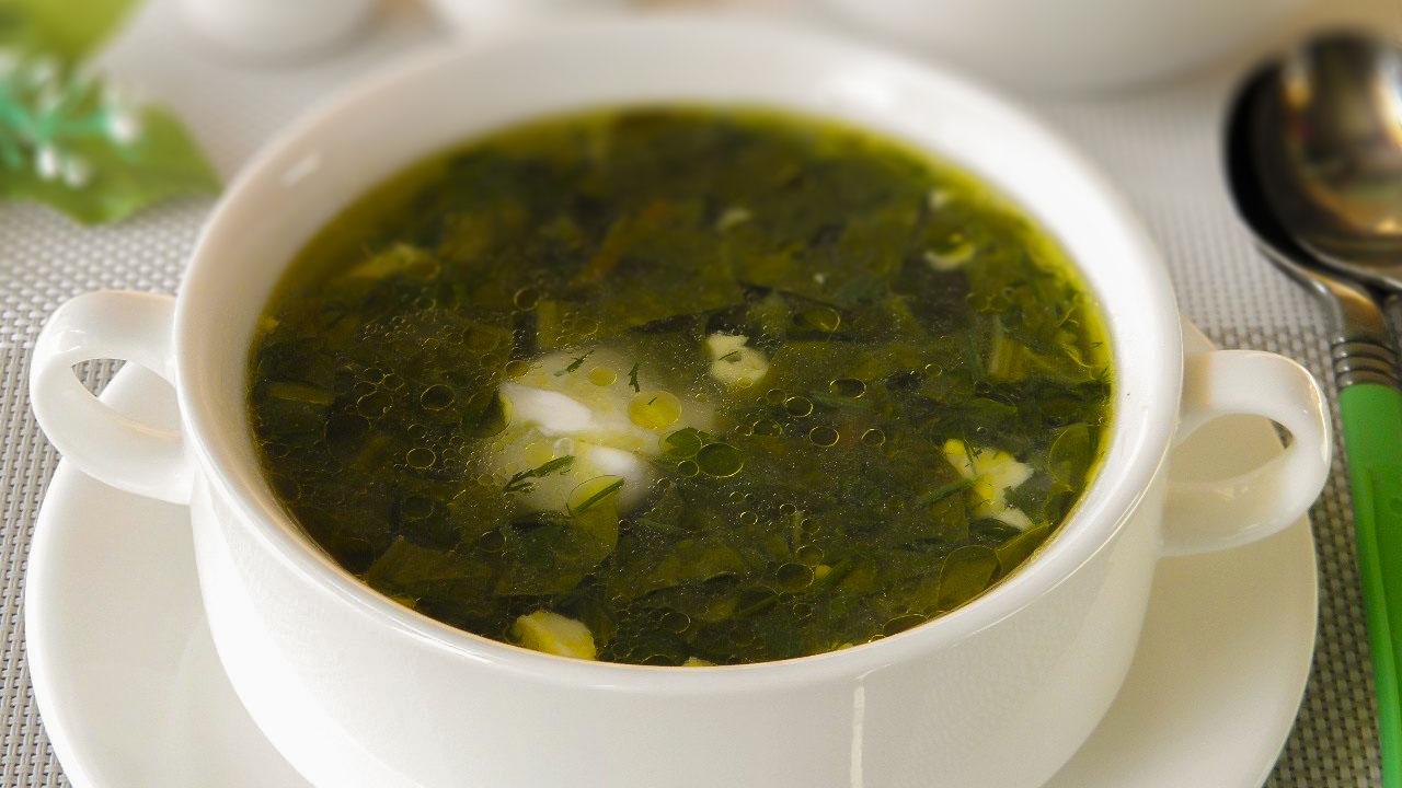 Суп на телятине со щавелем и ревенем