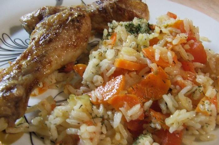 Рис с пряной курицей и грибами