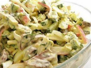 Грибной салат «Аленка» с крабовым мясом