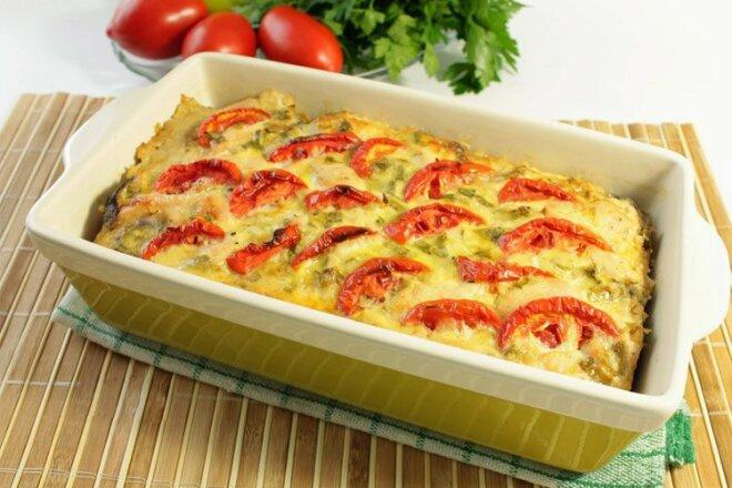 Куриное филе с овощами и сыром запеченное в духовке