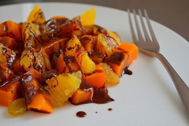 Сладкий салат из апельсина и тыквы