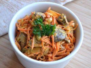 Салат из куриной печени с морковью по–корейски