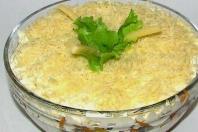 Салат из шампиньонов и сардины