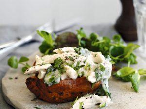 Картофель, фаршированный куриным филе