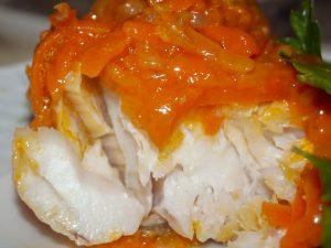 Треска под маринадом из моркови и лука