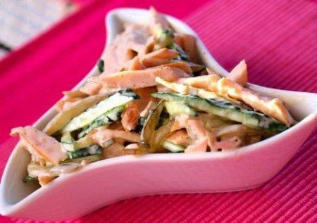 Салат из копченого куриного филе с огурцами